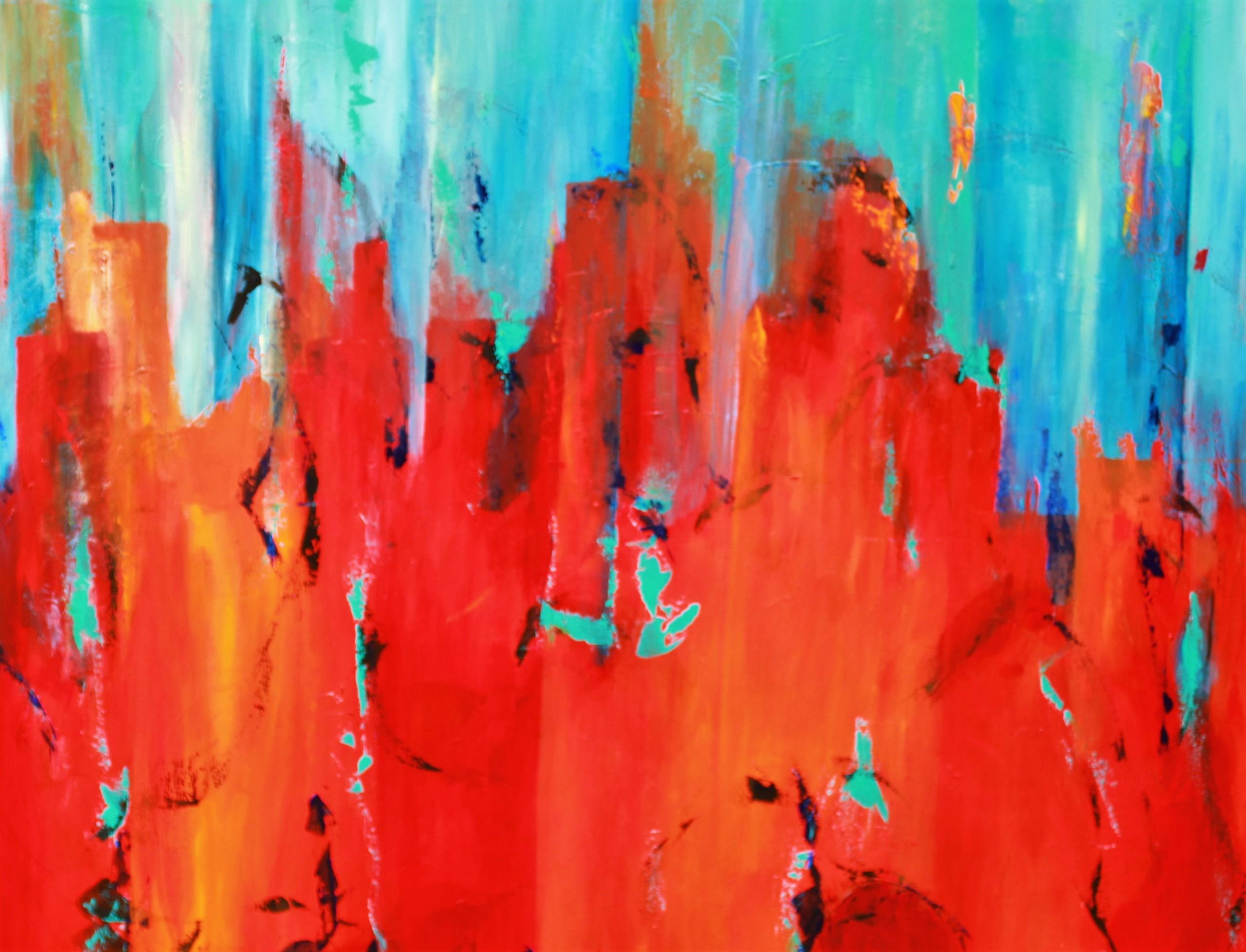 Det er sjovt at male store abstrakte malerier og lege med farver og former. I maleriet her er der masser at se på og tale om.