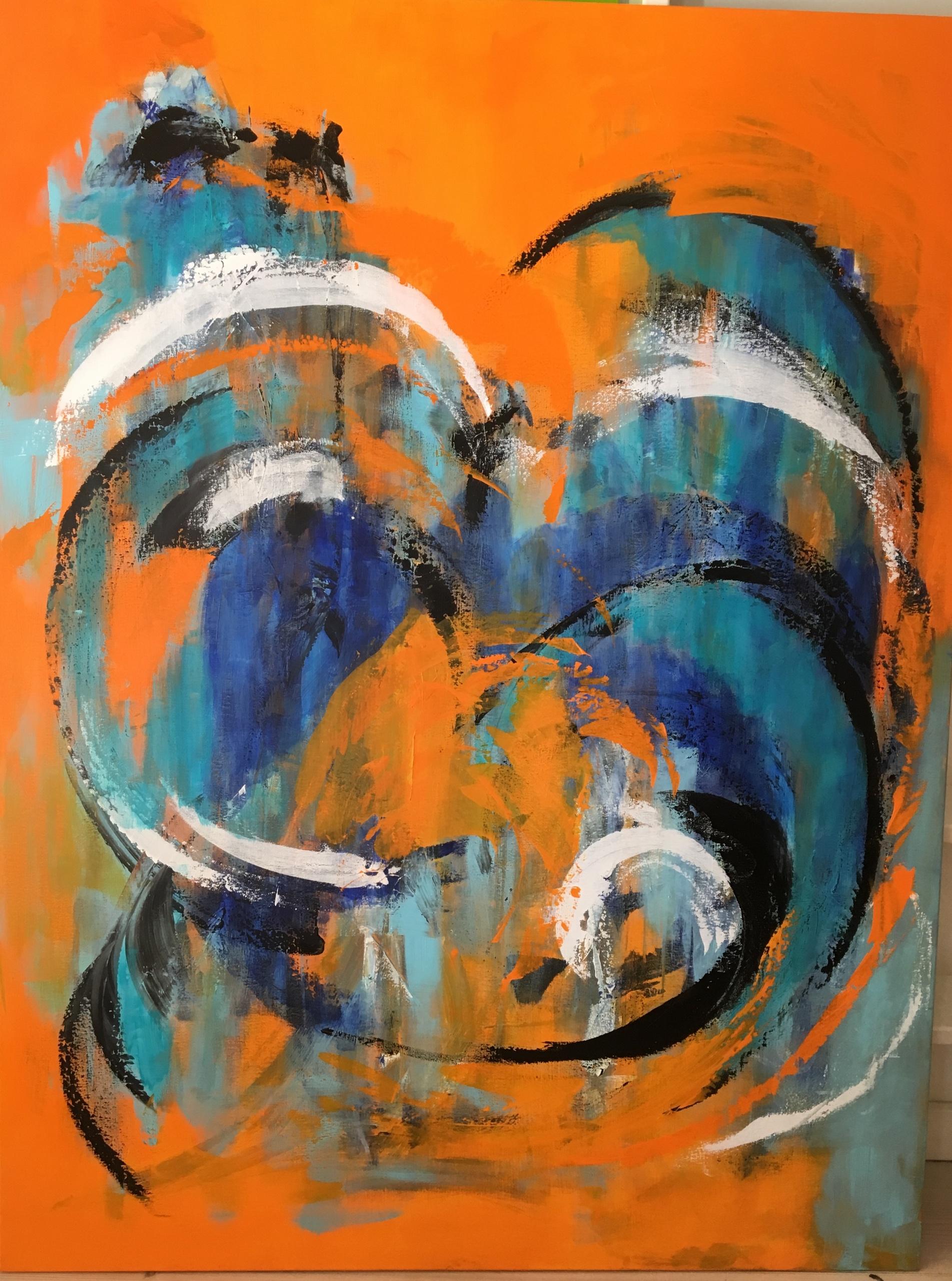 De cirkulære bevægelser giver både dynamik og harmoni i maleriet.
