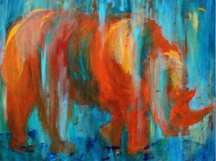 Tine Weppler: Næsehorn på vandring 100 x 120 cm