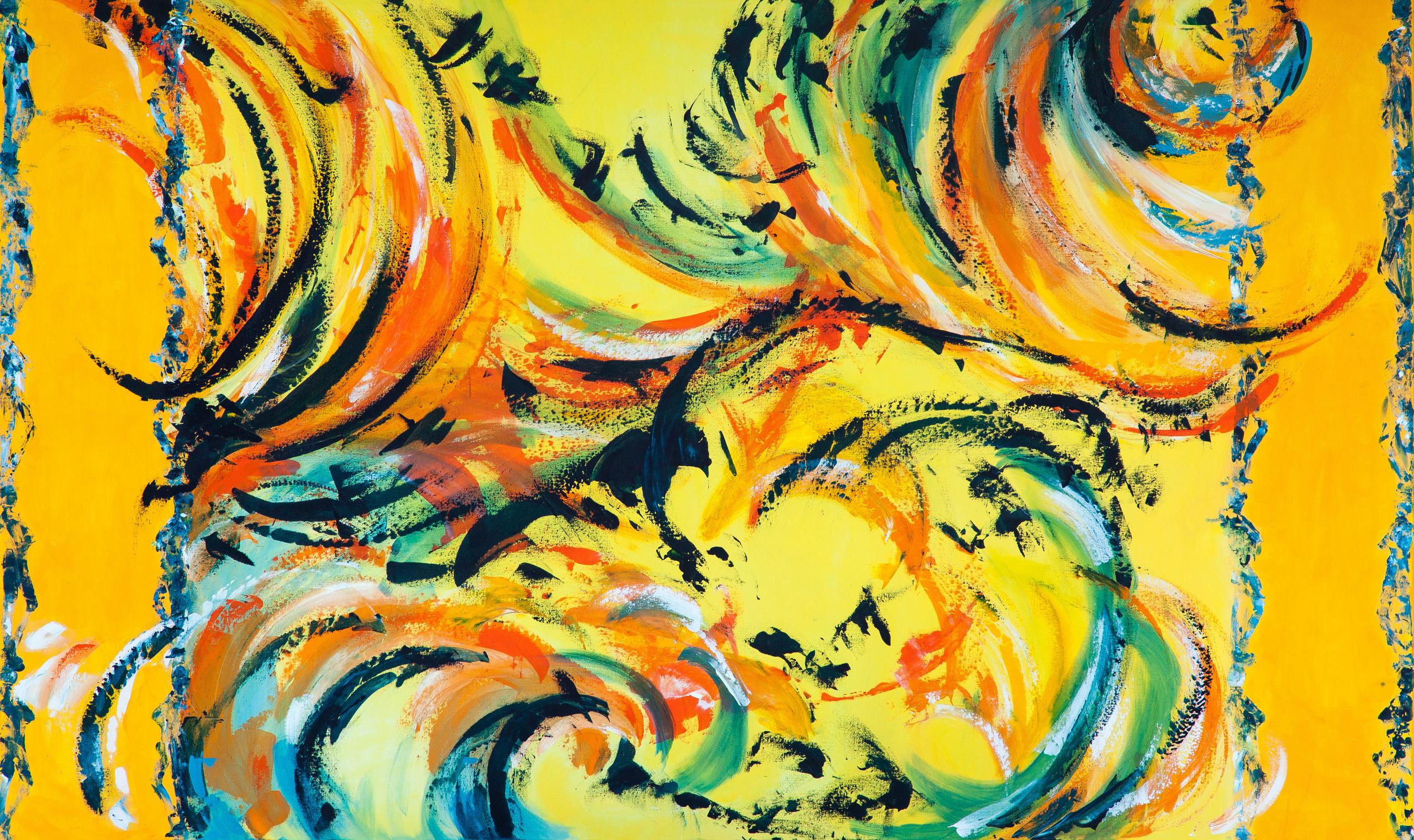Stort farverigt abstrakt maleri med masser af dynamik. Inspirationen er hentet fra sort sol.