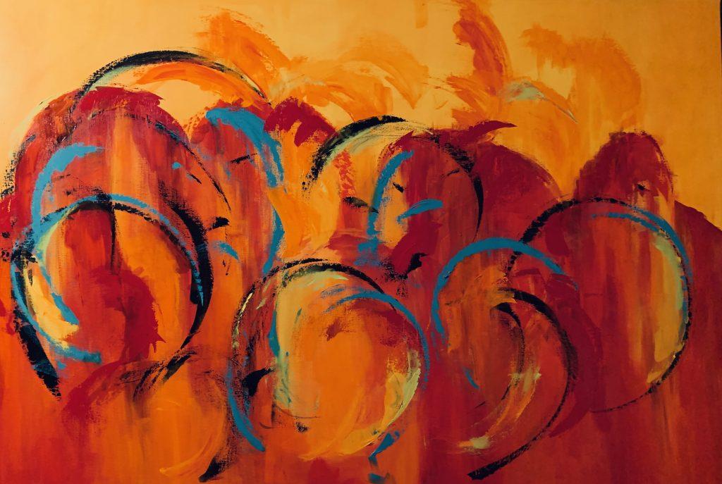 Tine Weppler En sommerdag og tankerne vandre 100 x 120 cm.