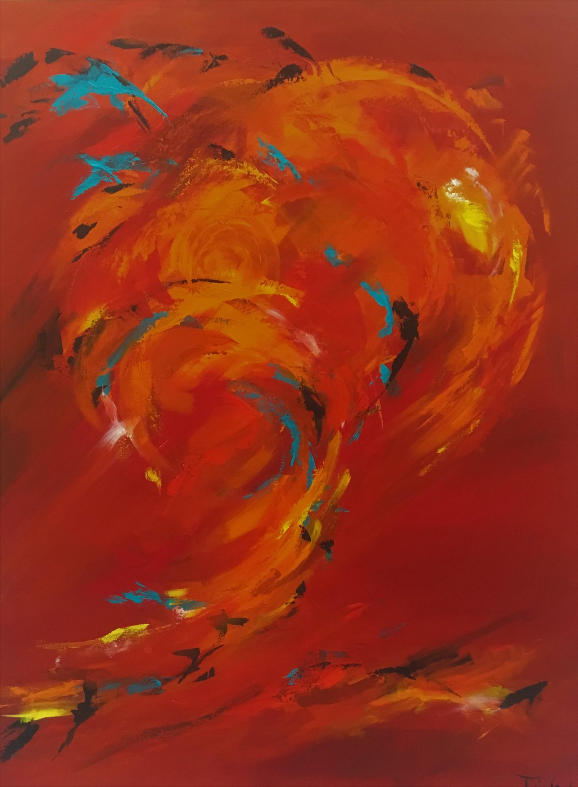 Efterårsløvet glimter i solen i en  komposition af varme og rødlige nuancer.