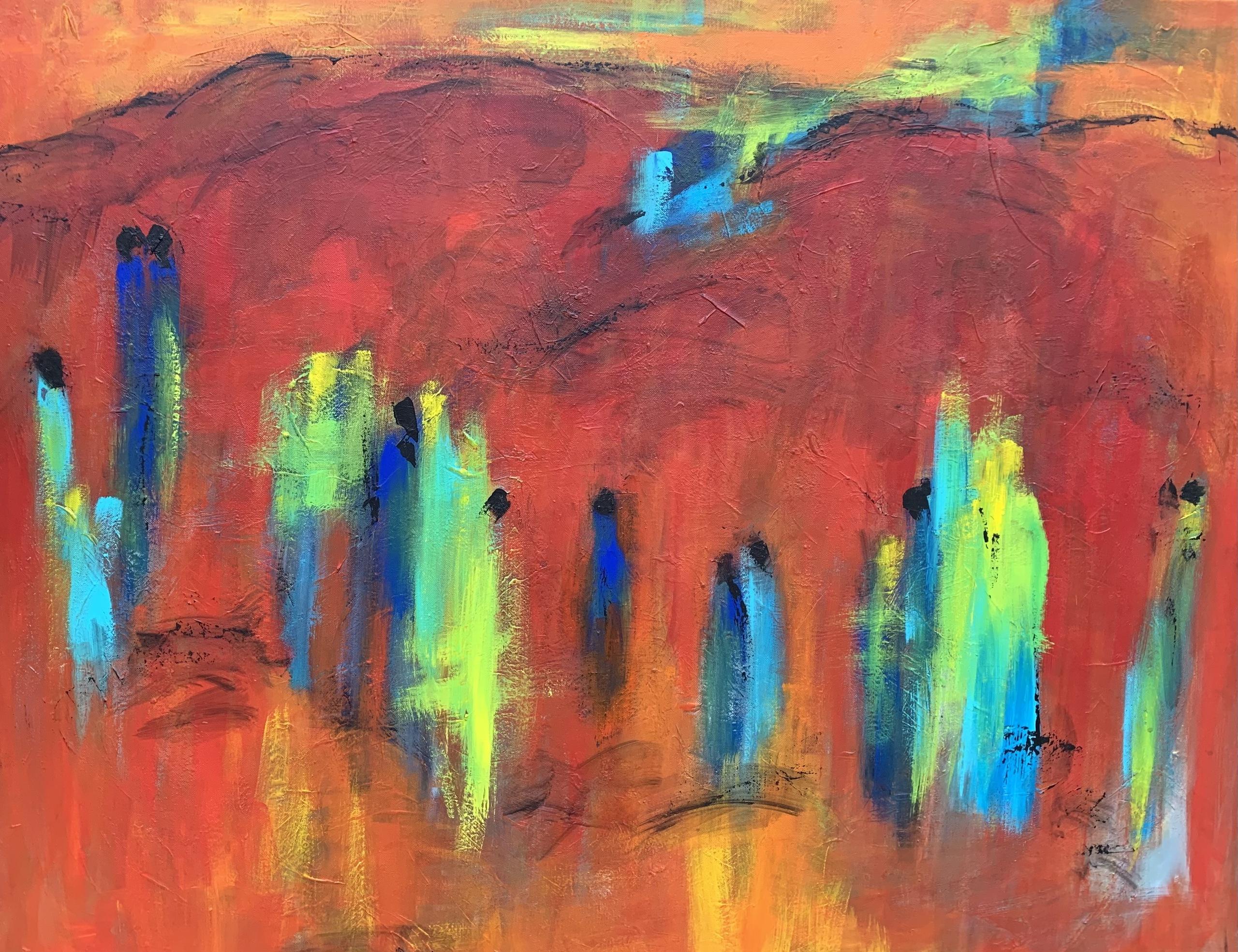 De røde og varme nuancer er de mest centrale i maleriet - og de får ekstra kraft fra de limegrønne og turkise nuancer, som får maleriet til at vibrere af liv.