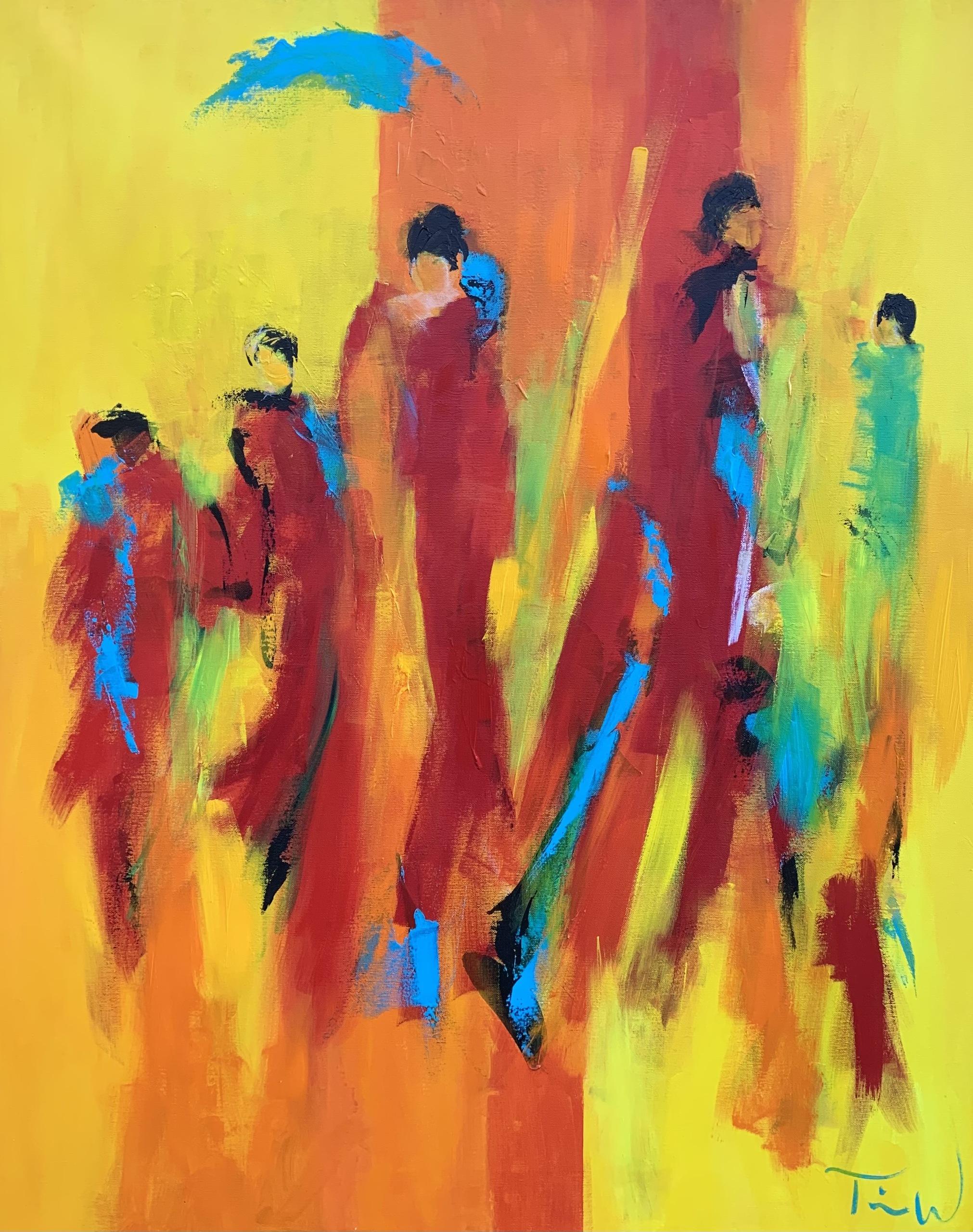Maleriet er inspireret af mennesker på vej, og var med første gang udstillet på Marienlyst Slot.