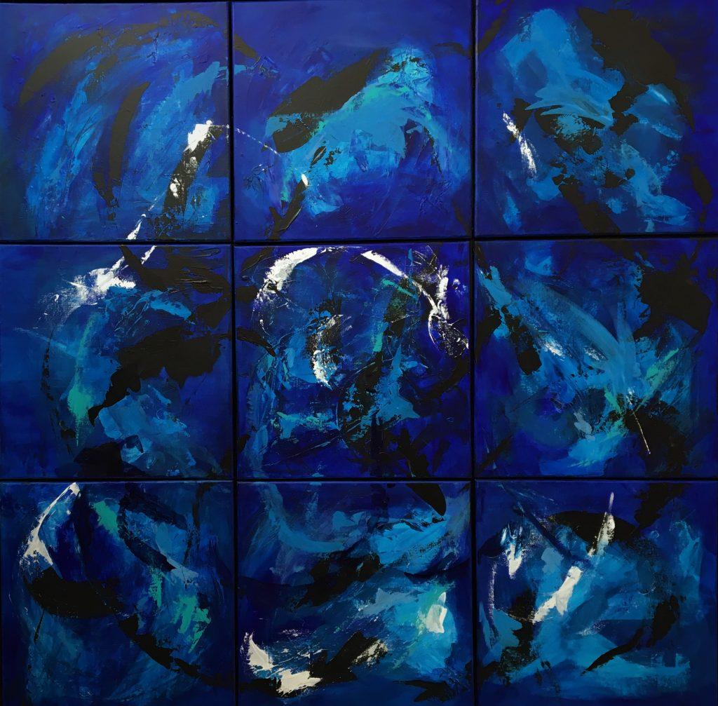 Stort abstrakt maleri i blå nuancer