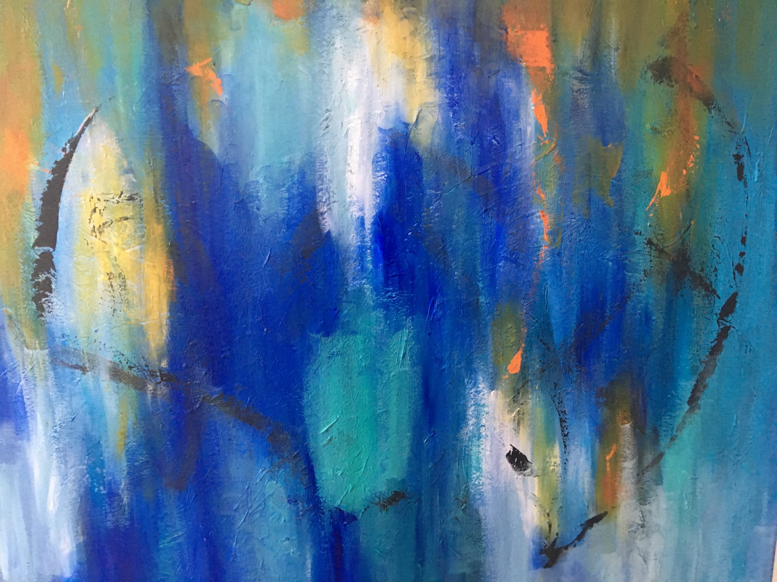 Flere af mine malerier er år undervejs - de får nye former og ændrer sig, indtil, jeg er tilfreds. Faktisk er jeg først tilfreds, når jeg siger til min mand.