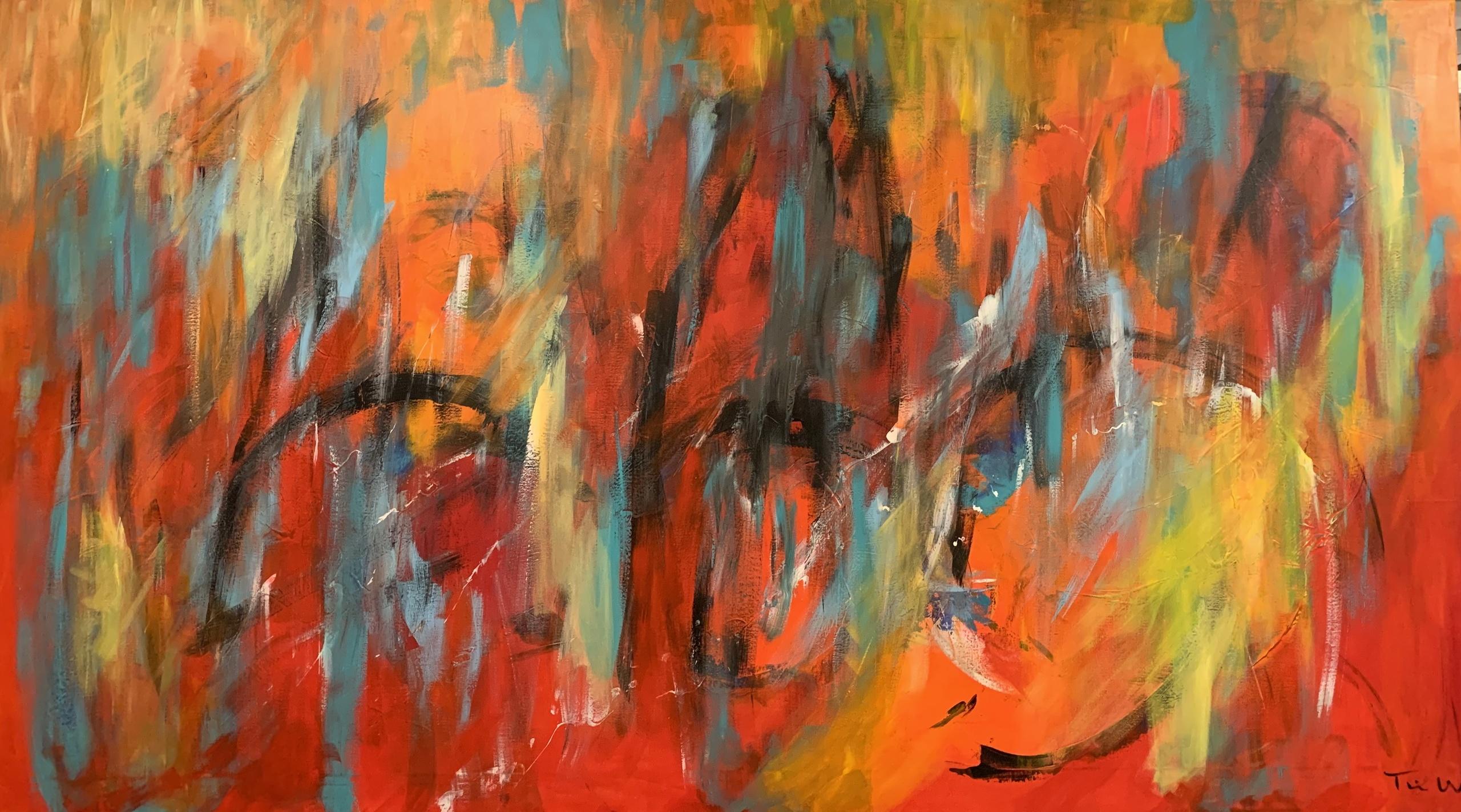 Maleriet har mange lag - og masser af detajler at se på. Det er malet til at lyse op  i rummet og give liv til omgivelserne.