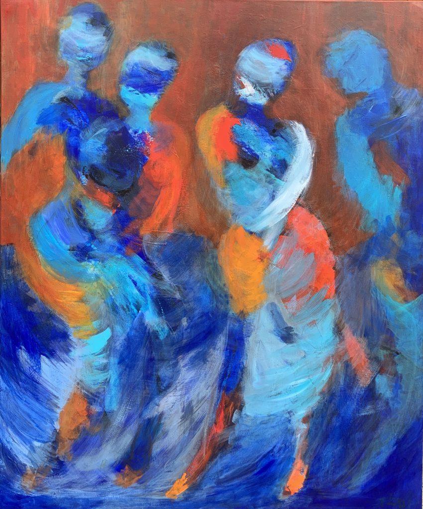 Abstrakt maleri med mennesker