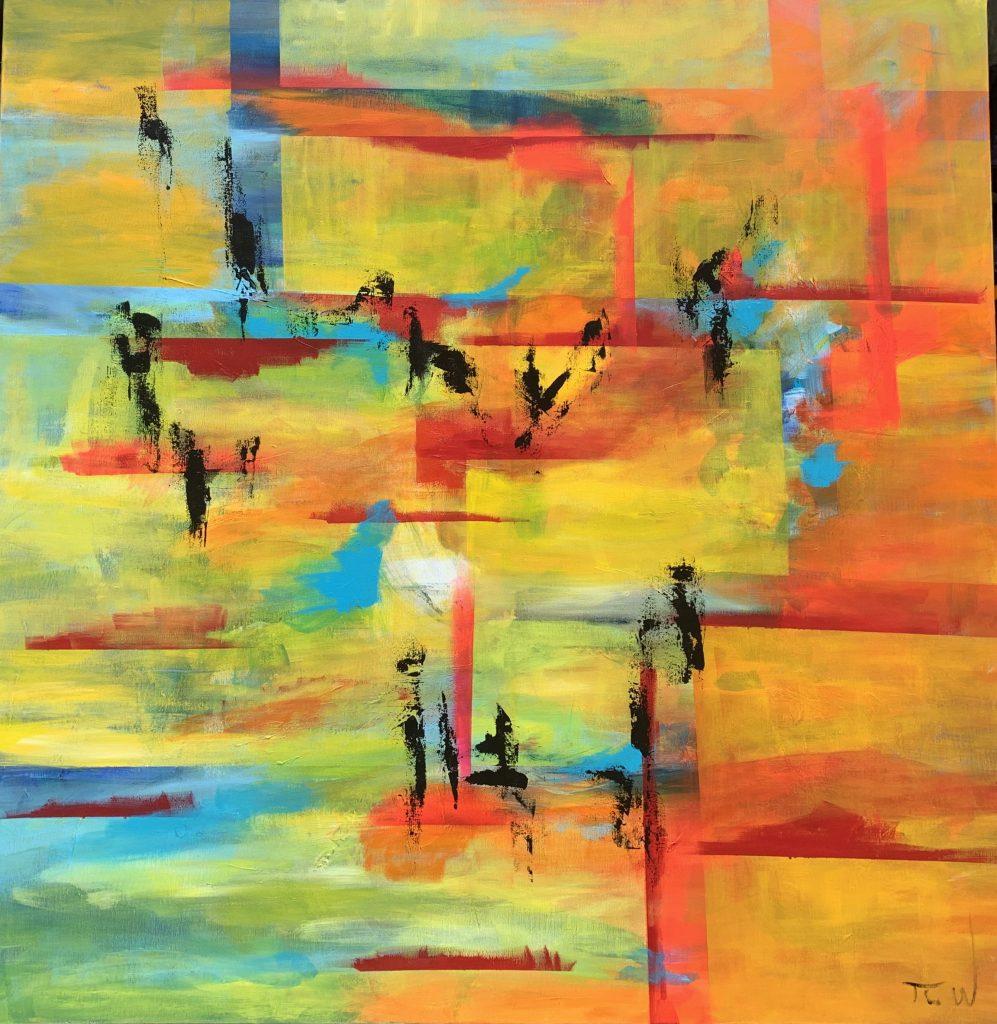 Unikt maleri i klare farver