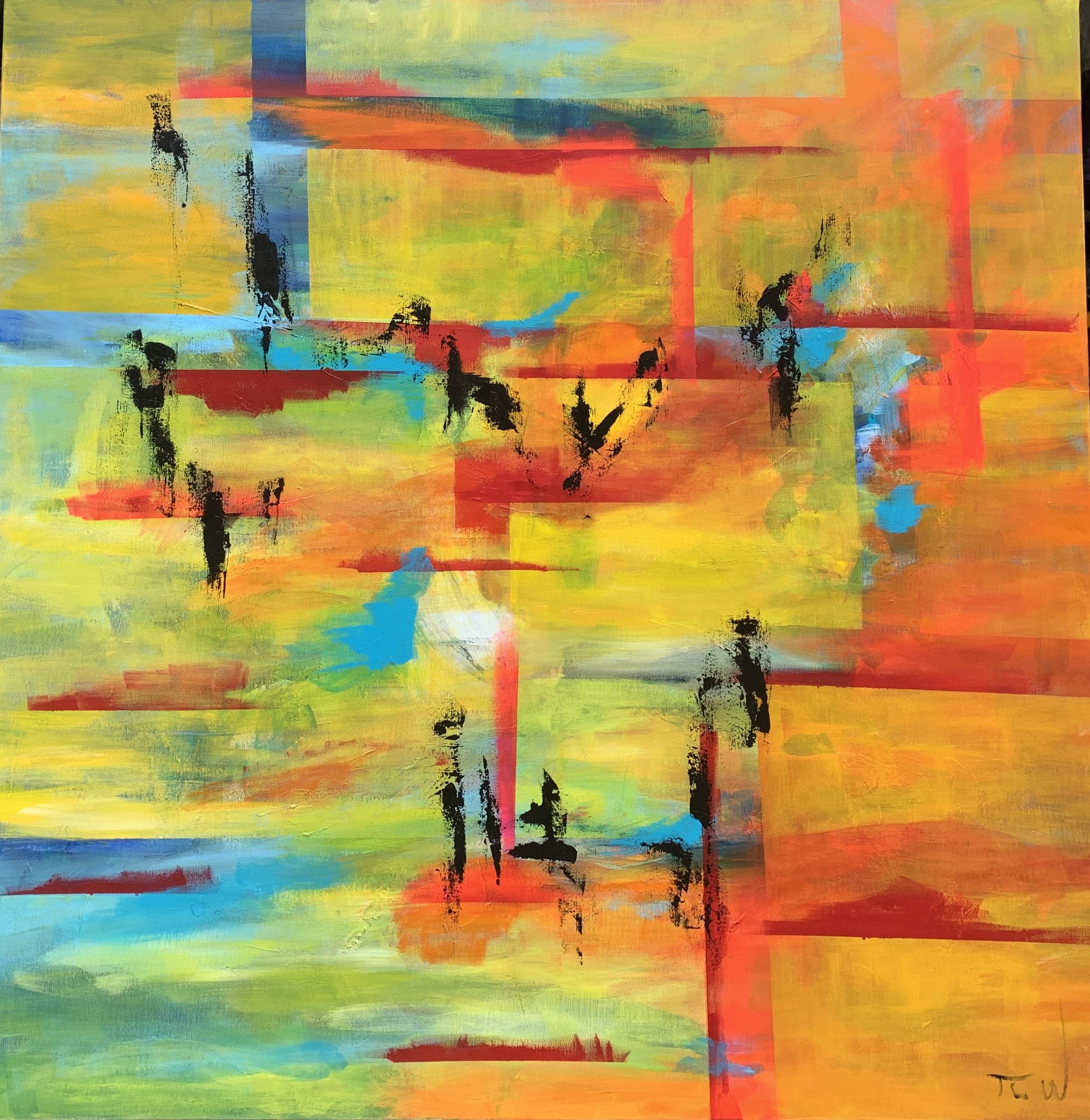 De røde lige streger giver liv  og sammenhæng i maleriet. Samtidig vises de åbne grænser som i mine tanker er tilstanden mellem vågen og drøm - kan også ses som et håb for en verden i forandring.
