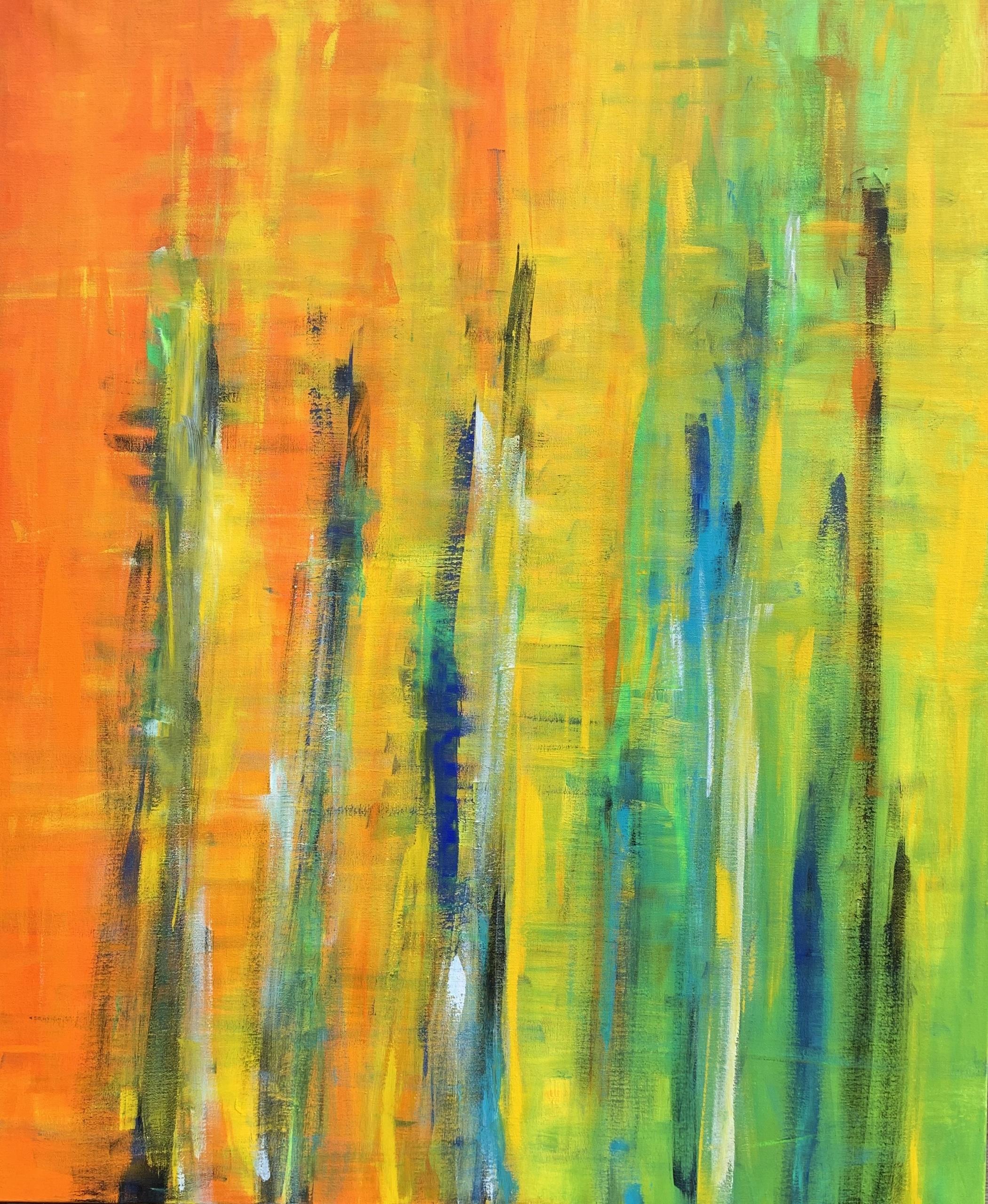 Store dele af farvespektret er i spil - og alligevel fremstår maleriet harmonisk.
