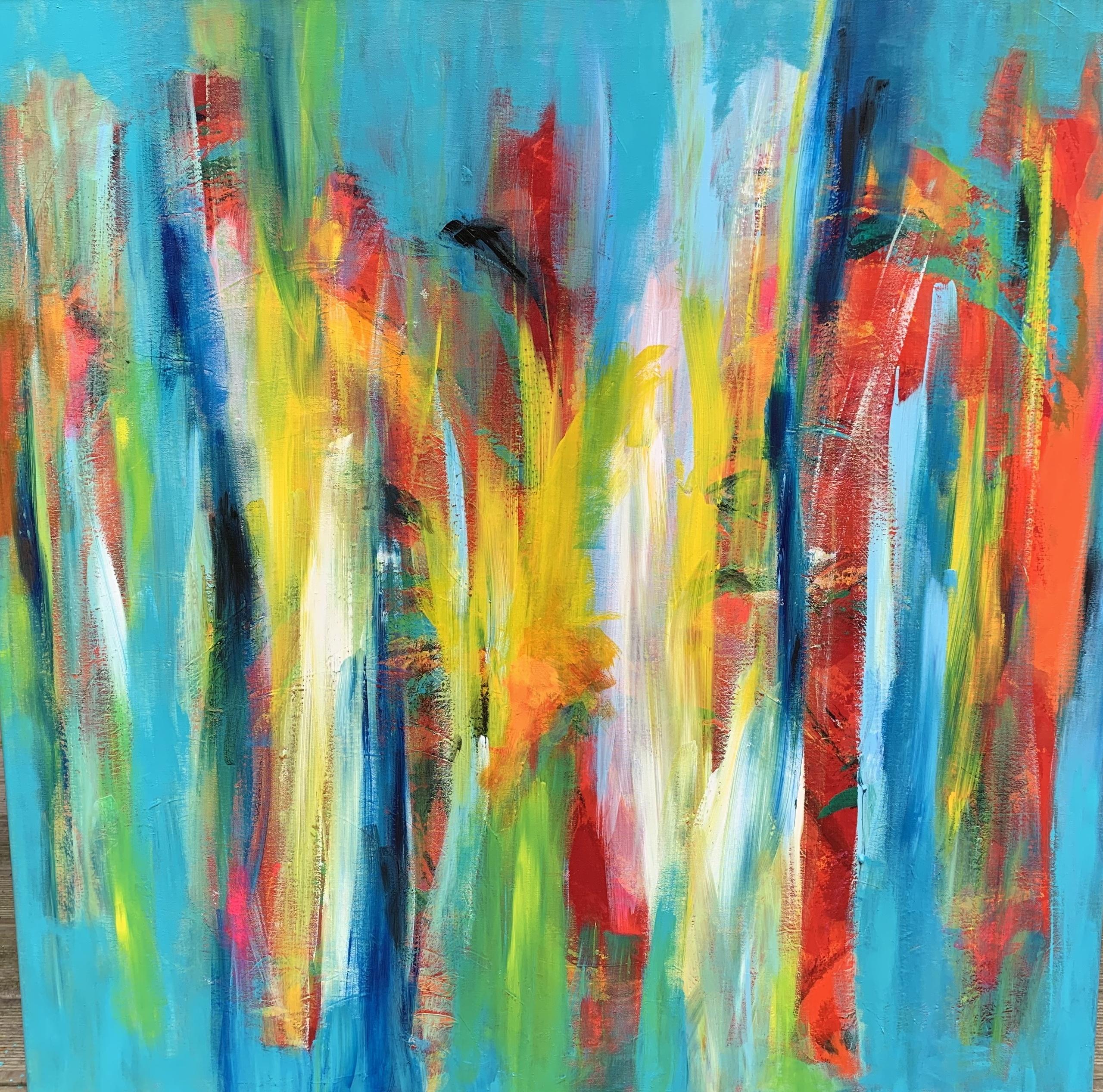 Maleriet har fået mange lag maling, og den varme glød stråler ud .