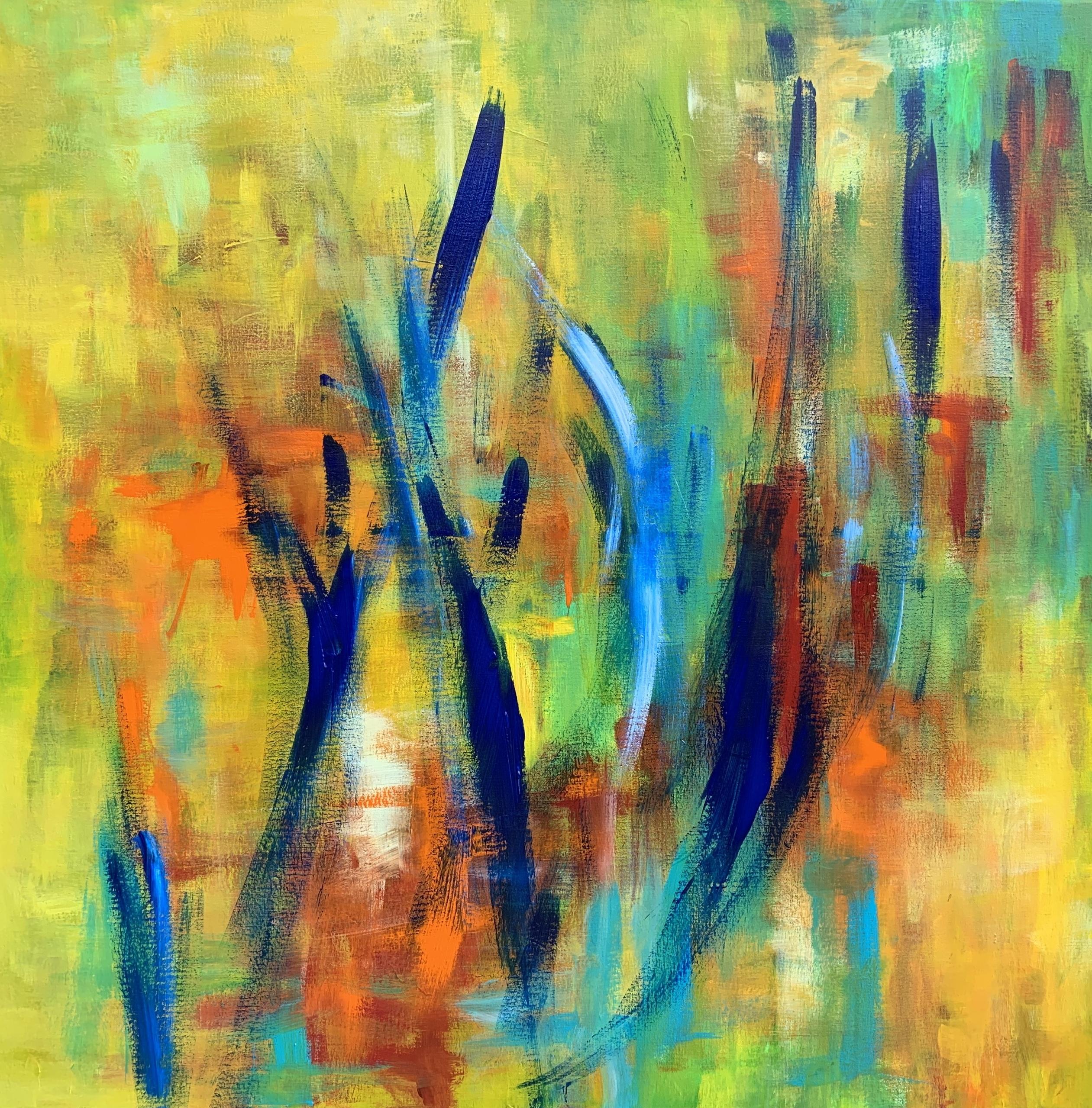 Et skønt farvespil i dette dynamiske maleri, hvor nogle ser stregerne som mennesker andre som græs i vinden.