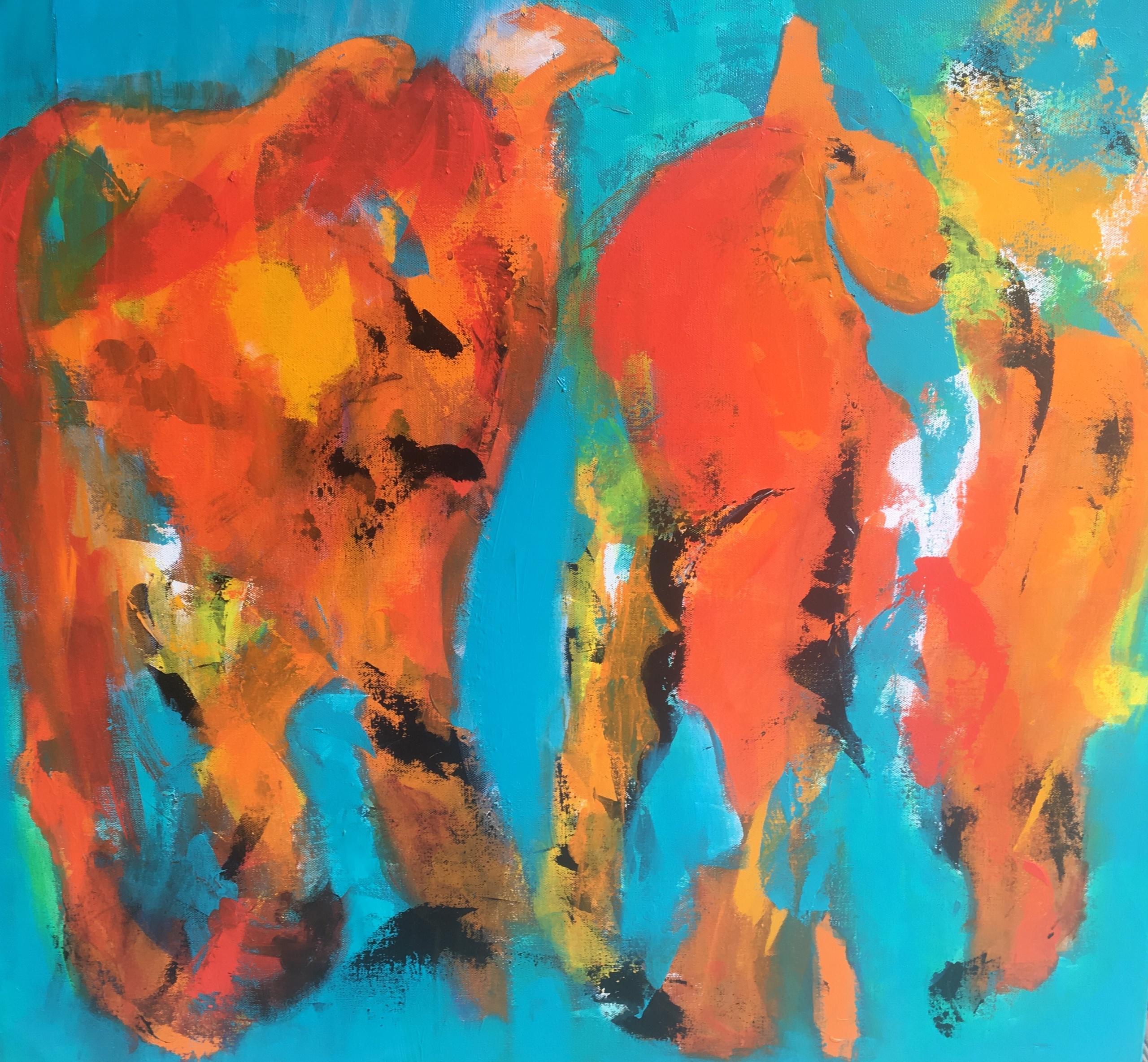 Folk har mange bud på, hvad de ser på maleriet - flest nævner løveunger i leg.
