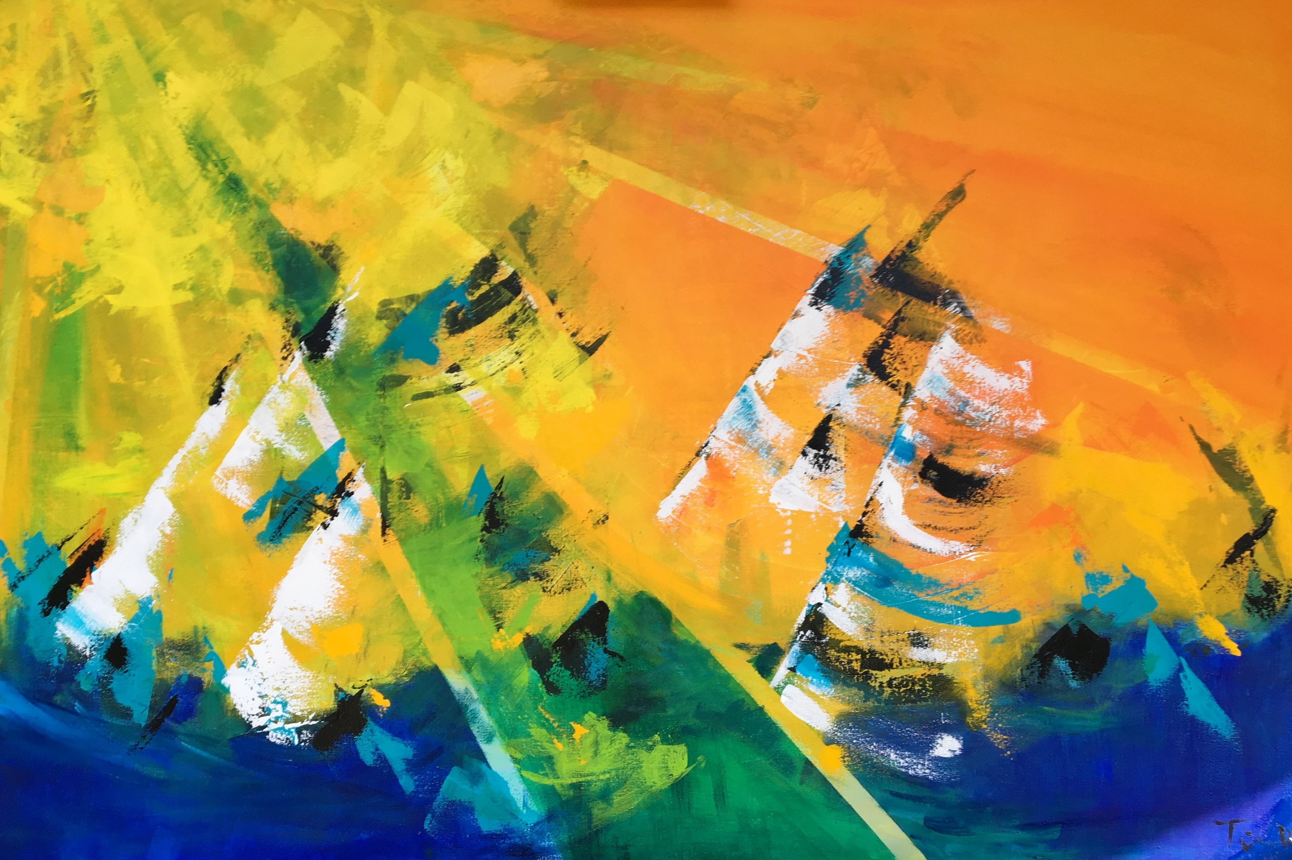 Selv om maleriet er abstrakt fornemmer man de hvide sejl - bølgernes vuggen - og solen der skinner.