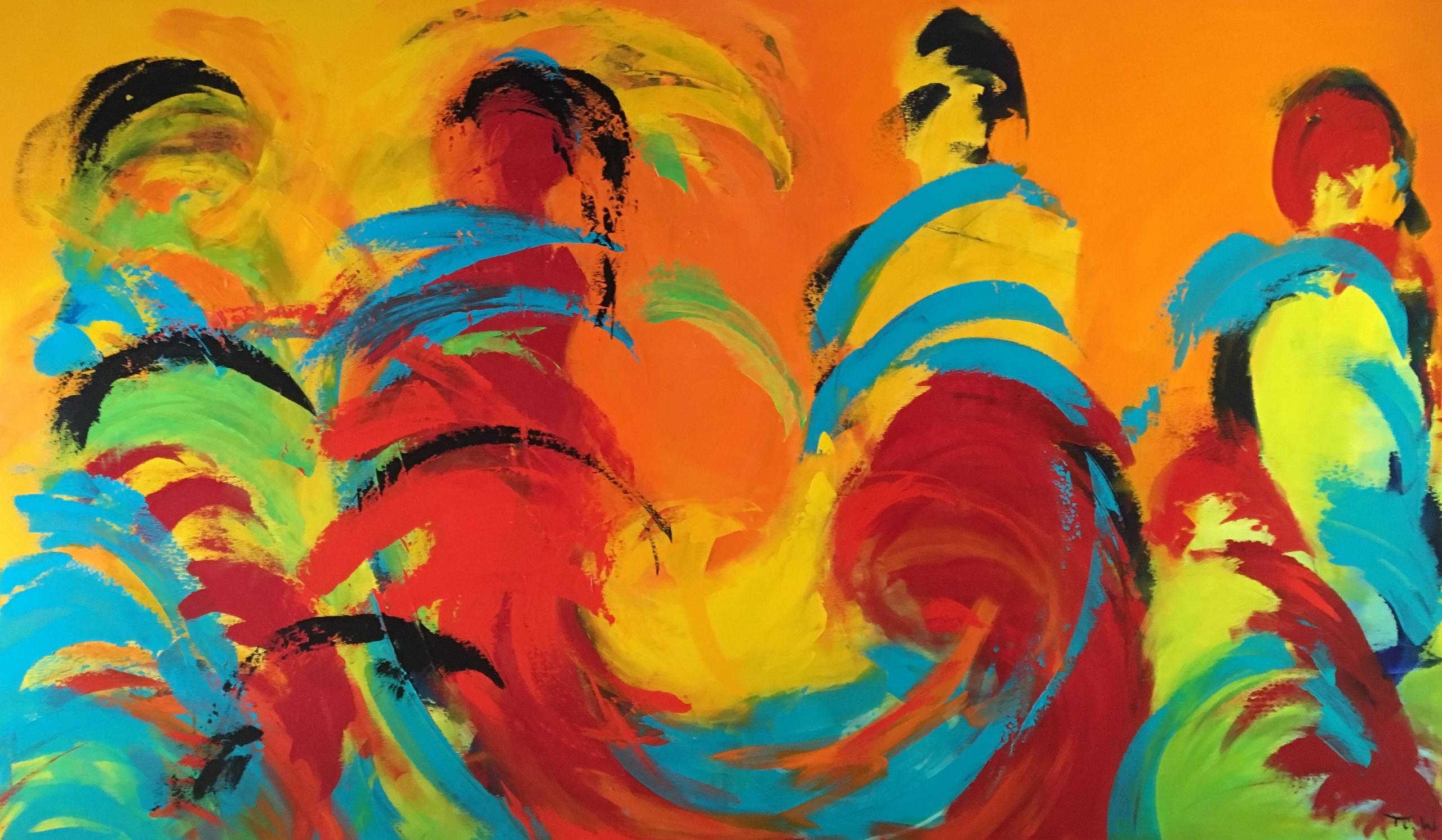 Varmt og dynamisk maleri. Egentlig abstrakt, men måske ser du som jeg dansende kvinder, der kaster blikke til hinanden.