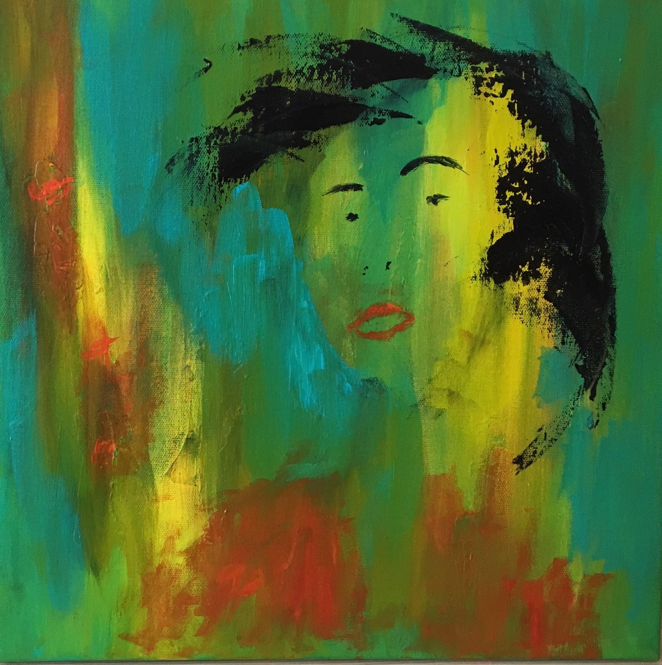 Maleriet er inspireret af en kvinde, der kom for at købe et maleri. Hun havde meget power og et flot hår. Jeg gik straks i gang med at male efter besøget.