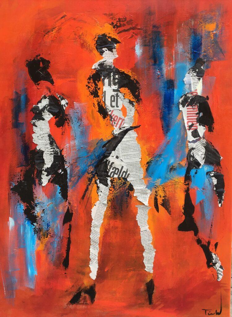 Collage og akrylmaling på lærred af flok på dansegulvet