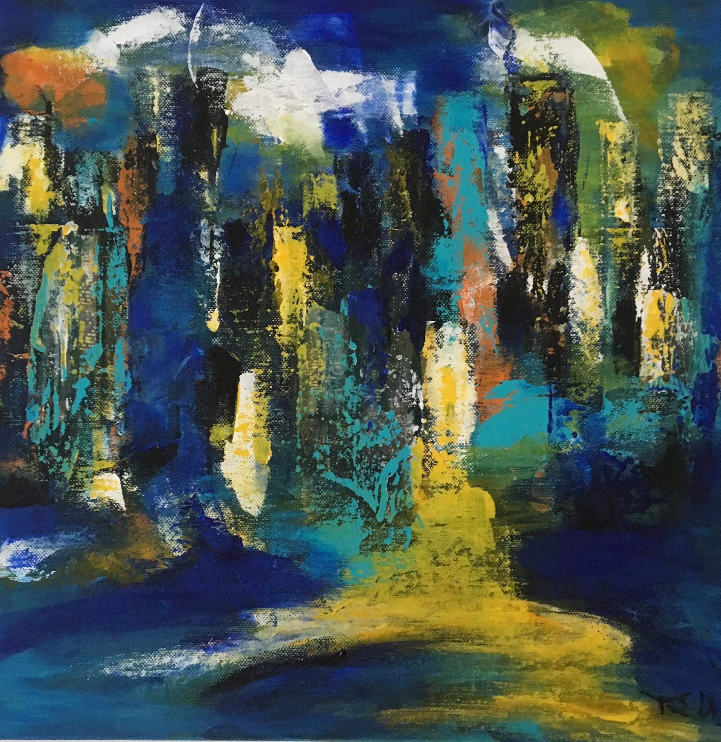 Det pulserende New York flyder ud med neonlys, vand og huse. Maleriet er både collage og malede indtryk.
