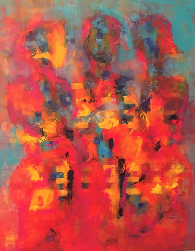 Abstrakt maleri med mennesker i stærke farver