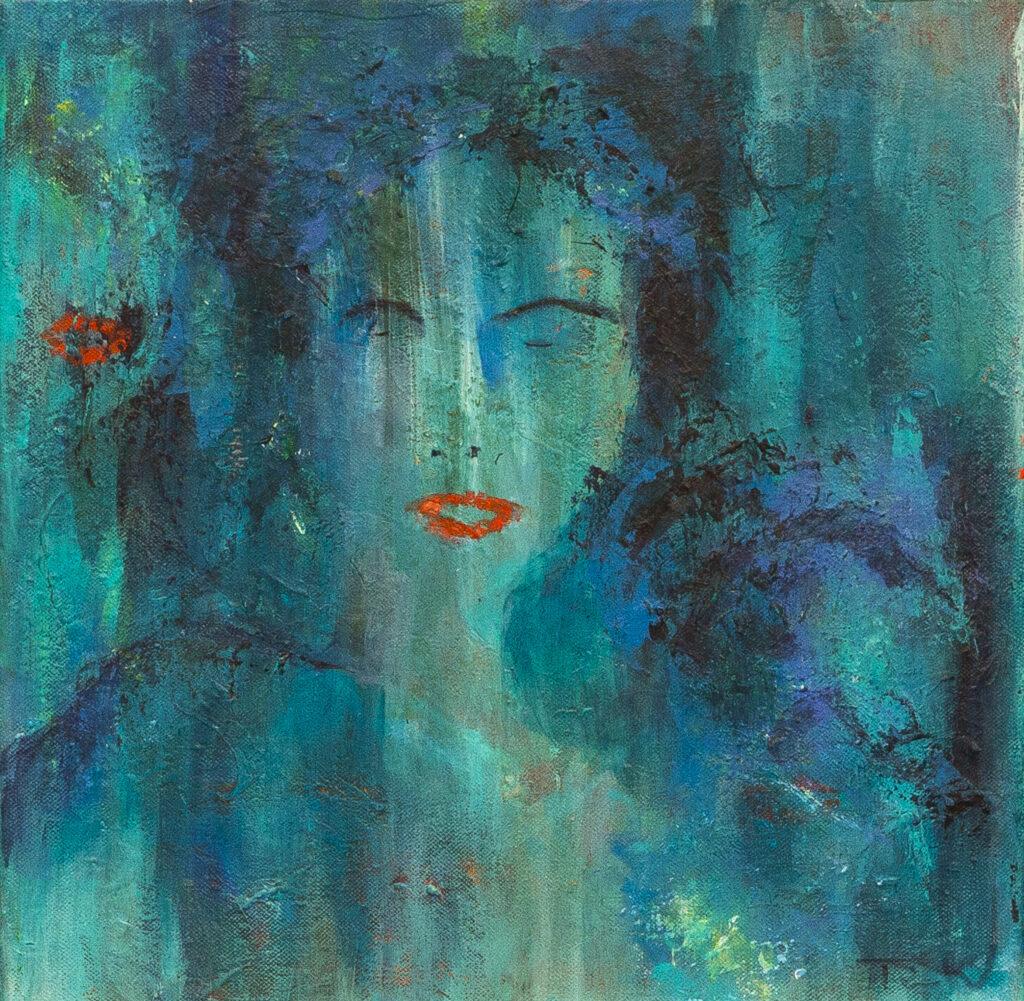Portræt af kvinde i blåt