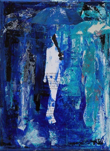 Collage og maleri i blåt
