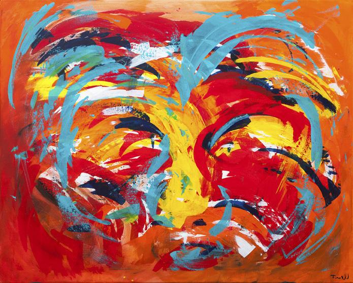 Det er et af mine første malerier, som nu hænger hjemme på min væg hjemme i stuen i Valby.  Kom gerne og se det og andre af mine malerier.