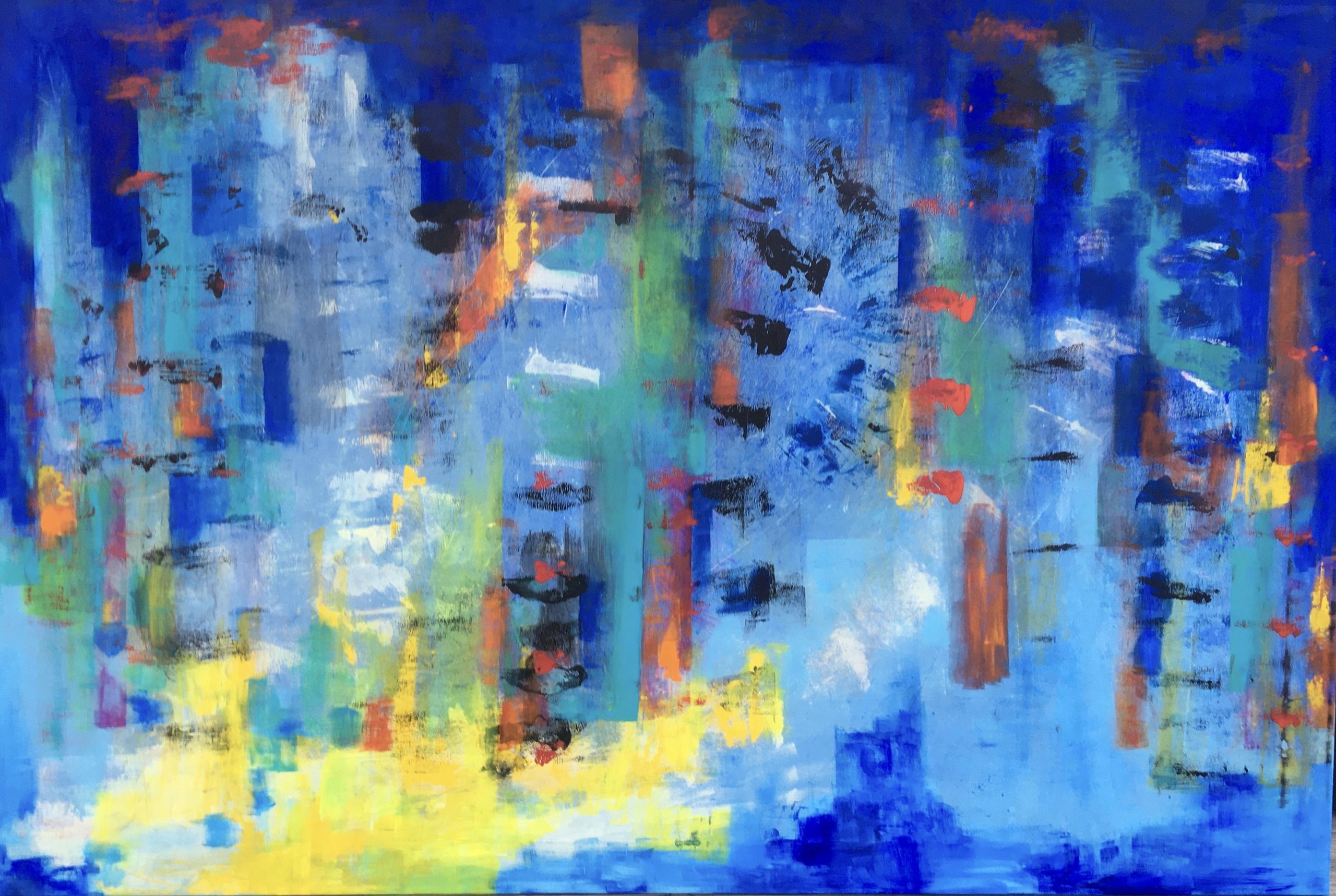 Stort og spændende maleri, hvor man hele tiden opdager nye ting - prøv selv at se efter - jeg ser mennesker.