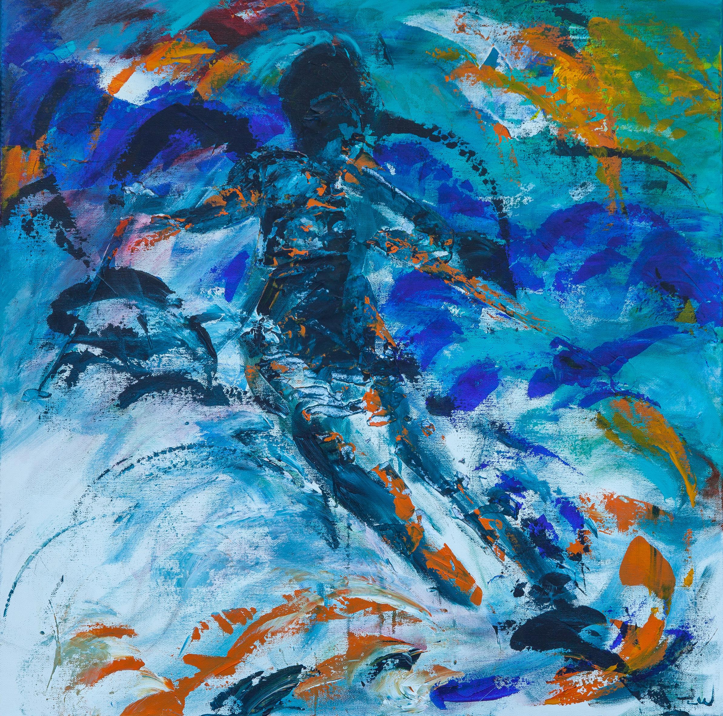 Jeg har malet en skiløber i fuld fart ned af pisten i solskin og masser af energi. Bjergluften er frisk