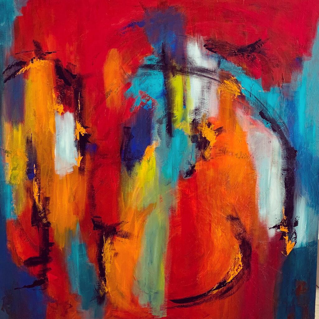 Moderne Abstrakt maleri med farver, der passer flot til den nordiske stil.
