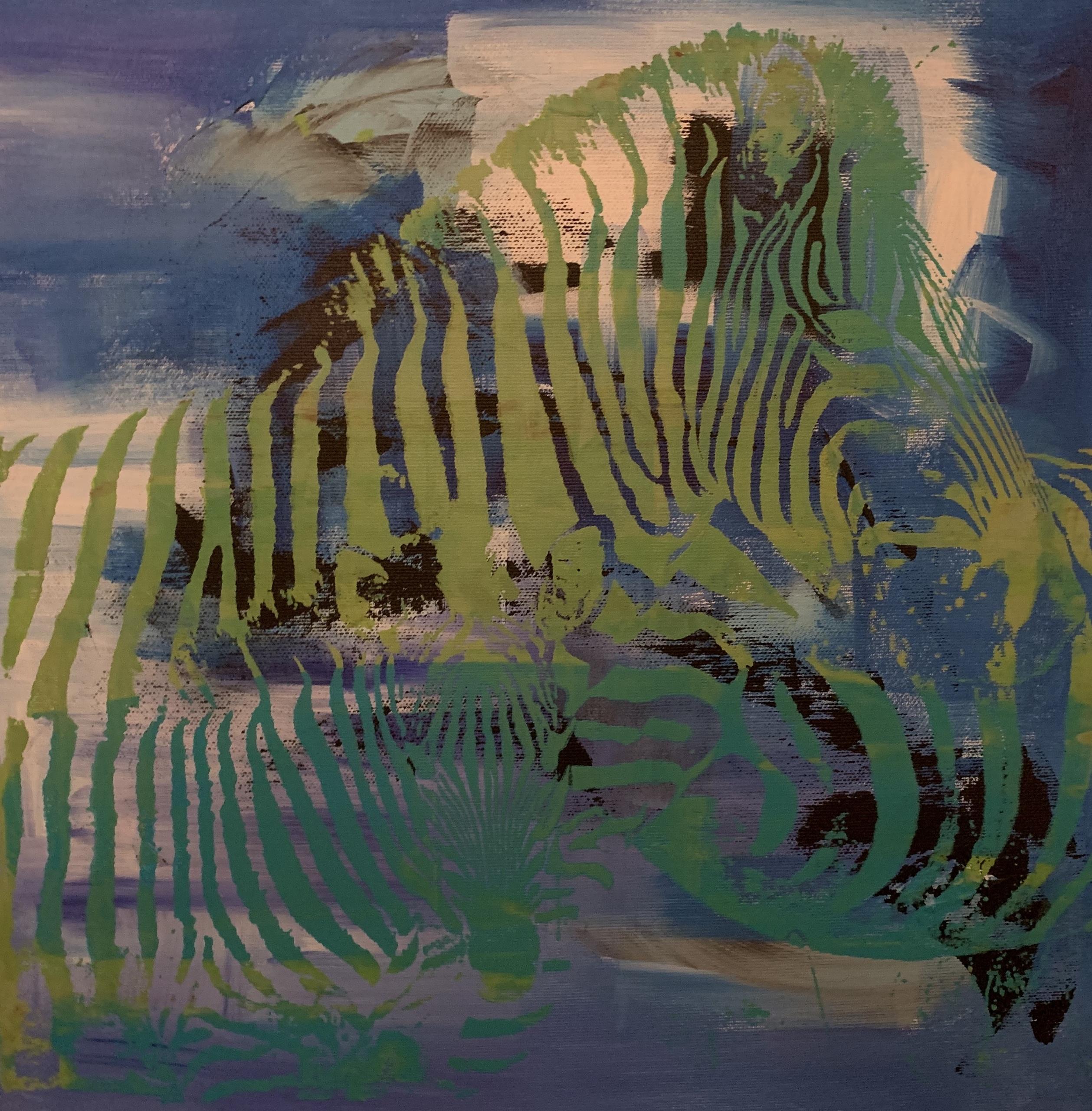 Et luftigt og spændende værk, hvor zebra og skyer går i et.