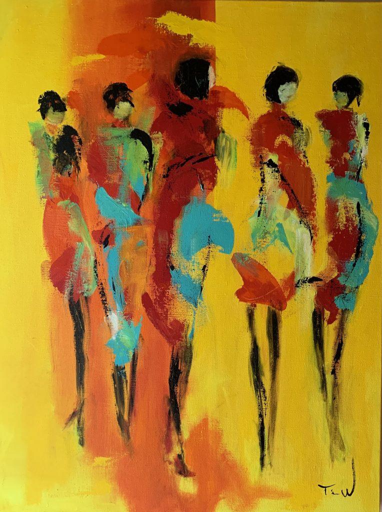 På gul baggrund ses 5 kvinder udført i lette dynamiske strøg.
