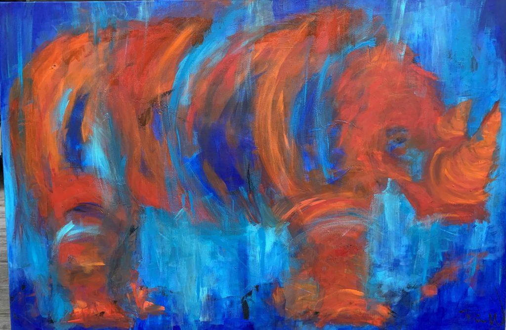 Farverigt og abstrakt maleri med næsehorn i blå og gyldne farver